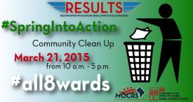 RESULTS, Reaching Effective Solutions Using Lasting Tactics and Strategies. Spring into action Community CLean up March 21, 2015 from 10 a.m to 5 p.m.